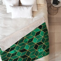Elisabeth Fredriksson Emerald Cubes Fleece Throw Blanket