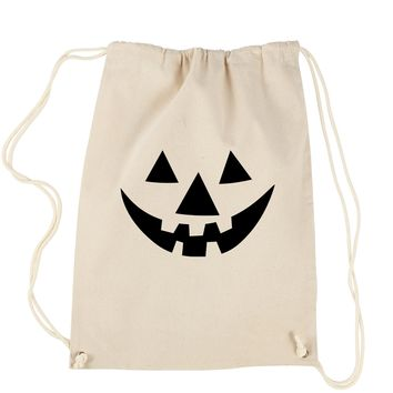 Pumpkin Face (Black Print) Drawstring Backpack