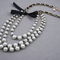 Tri-layers White Pearl Statement Necklace.Black Ribbon,Pearl Necklace--bridesmaid gifts,Beaded Jewelry, Bubble Necklace, Trending jewelry.