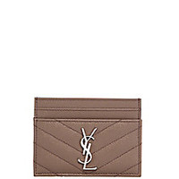 Saint Laurent - Monogram Leather Card Holder - Saks Fifth Avenue Mobile