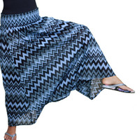 ON SALE Spring Fashion Skirt / Chevron Harem Pants Skirt in Black and Blue / Ready to Ship
