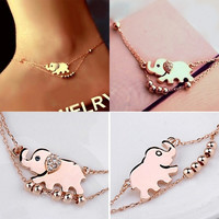 Fashion Chic Elephant Pendant Chain Anklet Bracelet Foot Jewelry (Size: 24 cm, Color: Rose gold)