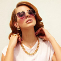 Celebrity Lana Del Ray Cute Metal Frame Heart Shape Sunglasses Lovely Women's