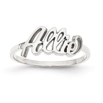 Personalized Laser Cut & Polished Name Ring - Sterling Silver or Solid Gold