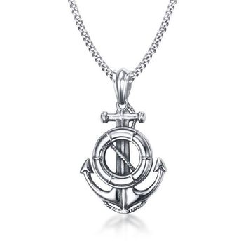 Stainless Steel Rudder Anchor Pendant Necklace For Men Ocean Nautical Navy Sailor Necklace Men Jewelry