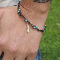 Turquoise and Gold with Feather Anklet or Bracelet