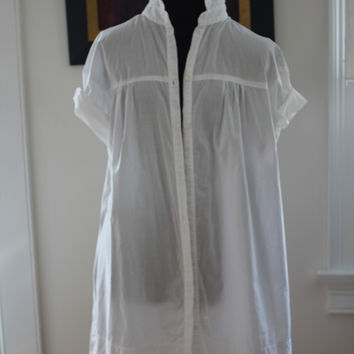 Vince Artist Sheer Cotton Lawn Smock Blouse Tunic