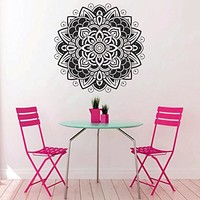 Mandala Wall Decal Vinyl Sticker Decals Lotus Flower Yoga Namaste Indian Ornament Moroccan Pattern Om Home Decor Bedroom Art Design Interior NS296