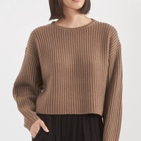 Organic by John Patrick Rib Crop Pullover in Amber | The Dreslyn