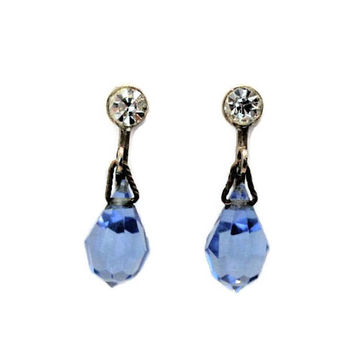 Blue Crystal Teardrop Earrings, With Clear Rhinestone, Screw Back