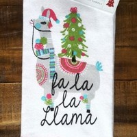 Bella Lux  Set of 2 Llama Print Kitchen Towels Christmas Towels Fa La La Llama