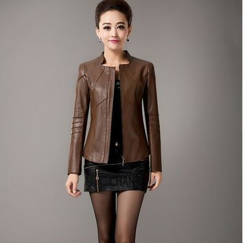 high quality Big Size Short Leather Jackets 5XL womans black leather jacket Spring leather jacket Women Fashion leather Coat red