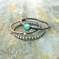 Kingman Arizona Turquoise Stacking Rings Set in Antiqued Sterling Silver