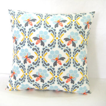 Pillow Cover, Modern Cushion Cover, Bee Print in Blue and Orange, Home Decor