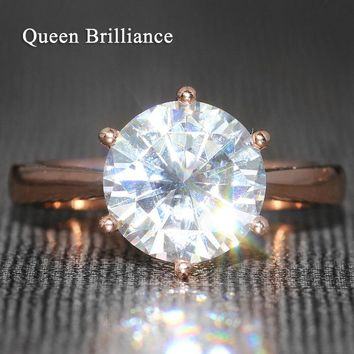 Queen Brilliance 4 Carat ct F Color Engagement Wedding Moissanite Diamond Ring 6 Prongs Ring For Women Solid 14K 585 Rose Gold