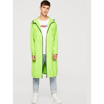 Men Zip Up Drawstring Hoodie Longline Coat