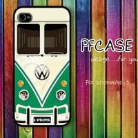 Green VW minibus : Handmade case For Iphone 4/4s ,5 / Samsung S2,S3,S4