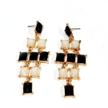 """Checkered Past"" Chandelier Earrings"