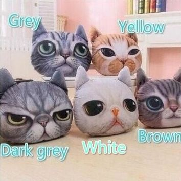 ONETOW Stuffed Dolls 3D Simulation Cats Pillows and Cushions Plush Toys High Quality(36*32cm) [8270352961]