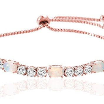 Fiery Opal Tennis Bracelet Made with Swarovski Crystals in Rose Gold