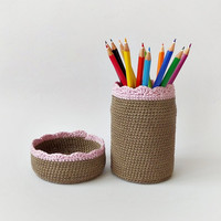 Cotton crochet basket and pen holder set, eco friendly pencil organizer, desk accessory, upcycled glass office decoration, kids room decor