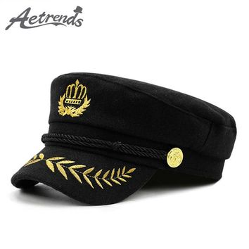 [AETRENDS] New Warm Woolen Military Cap Men Women Casual Army Caps Flat Top Navy Captain Hat gorra militar Z-6271