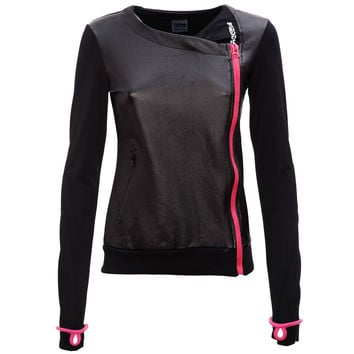 FREDDY BLACK ACTIVE ASYMMETRICAL ZIP SWEAT - Black/Pink