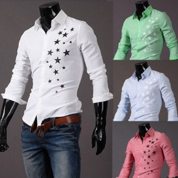 Print Star Long-Sleeve Slim Dress Shirts