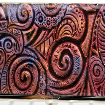 Business card holder / Polymer clay covered Deluxe card holder / metal wallet black clay with mica powder, OOAK handmad