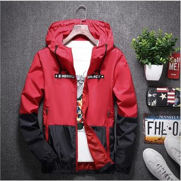 yizlo anorak jacket windbreaker men jaqueta masculina zipper patchwork waterproof jackets streetwear autumn bomber jacket