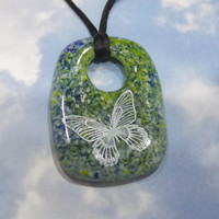 Butterfly Necklace, White Butterfly Pendant, Blue, Green, Yellow, and White Fused Glass Jewelry - Lucky One - -5