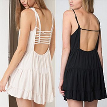 Solid Color Fashion Casual Backless Ruffle Sleeveless Strap Mini Dress