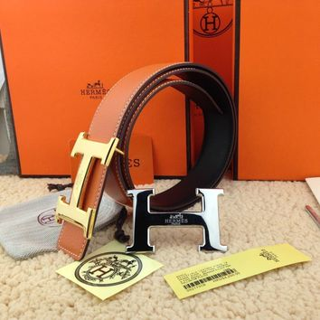 Brand New Authentic Hermes Brown Belt 2H Golden-Sliver Buckle 110CM/38MM