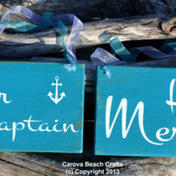 Wedding Sign - Beach Wedding - Nautical Wedding - Emerald Green - Salty Captain Mermaid - Anchor - Chair Hanger - Photo Prop Mr Mrs - Decor