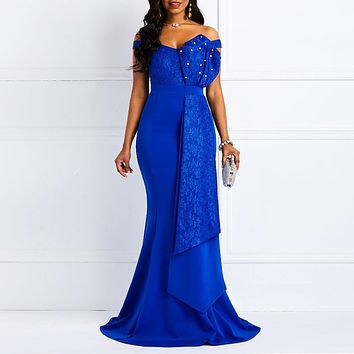 Women Off Shoulder Long Dress Sexy Mermaid Slash Neck Beads Skinny Robe Prom Evening Fashion Patchwork Lace Elegant Maxi Dresses