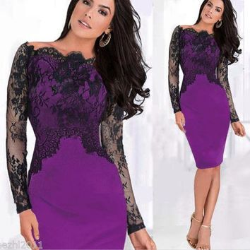 2018 Sexy Women Classy Lace Off Shoulder Pencil Dress Slim Formal Cocktail Prom Party Dress