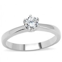 Stainless Steel Solitaire Round Cubic Zirconia Engagement Ring (7)