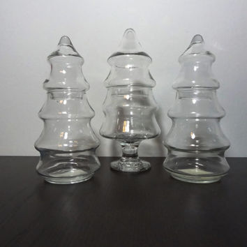 Vintage Set of 3 Anchor Hocking Clear Glass Christmas Tree Shaped Decanters/Apothecary/Storage Jars with Lids