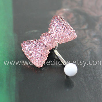 Pink crystal bow belly ring,cute bow belly ring, Bow Belly Button Ring ,No Dangle Belly Ring ,Belly Button Piercing
