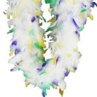 Chandelle Boa White with Mardi-Gras Tips