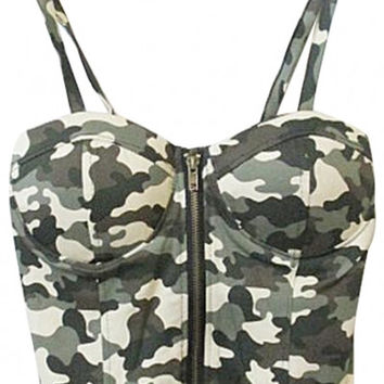 Camouflage Strappy Cropped Corset Top with Zipper