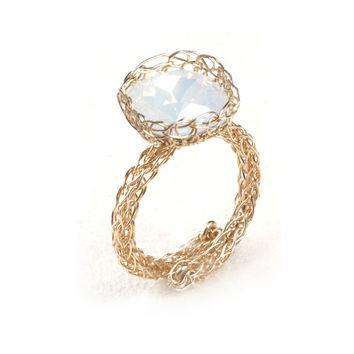 White Sparkle Cocktail Ring , Wire Crochet Statement Ring , Adjustable Gold Ring , Swarovski and Gold