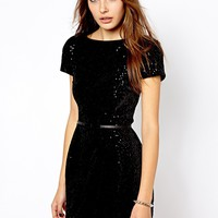 Mango Belted Sequin Dress