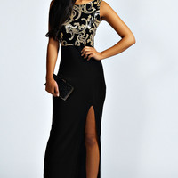 Jasmine Sequin Top Front Split Maxi Dress