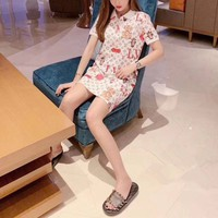 Louis Vuitton Upright Neck Short Sleeve Women Casual Cute Letter Mini Dress
