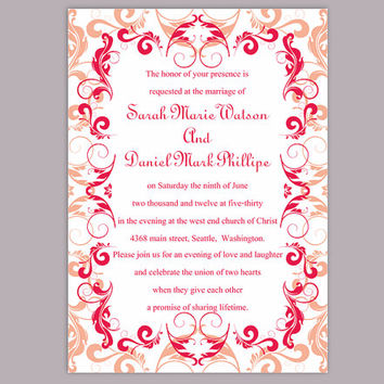DIY Wedding Invitation Template Editable Word File Instant Download Printable Peach Invitation Red Wedding Invitation Beige Invitations