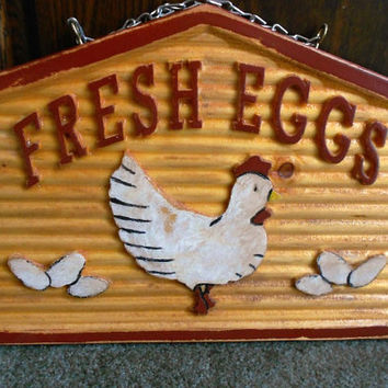Fresh Eggs Plaque---reproduction of a 1900 sign, pine, antique-look