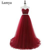 Lamya 2017 Real Photo Cheap Plus Size Long Formal Evening Dresses Women Wine Red Tulle Bride Banquet Elegant Prom Dress