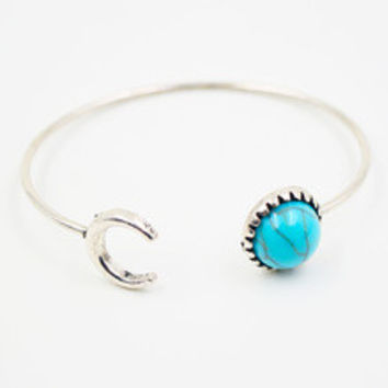 Turquoise Moon Open Bangle Bracelet