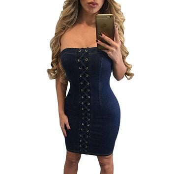 Sexy Sleeveless Denim Lace up Mini Dress